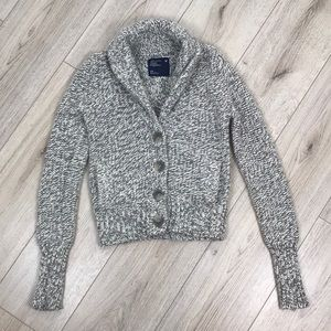 American Eagle Grey Button Front Cardigan